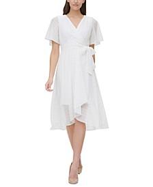 Petite Eyelet Faux-Wrap Dress