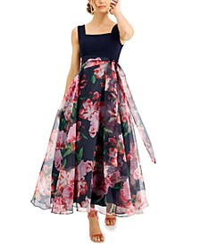 Petite Floral-Skirt Gown