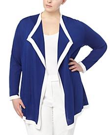 Plus Size Colorblocked Drape-Front Cardigan Sweater
