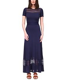 Sheer-Stripe Maxi Dress