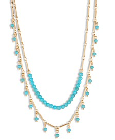 """Gold-Tone Turquoise-Look Bead Layered Necklace, 15-3/4"""" + 2"""" extender"""
