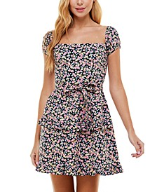 Juniors' On-and Off-The-Shoulder Fit & Flare Dress