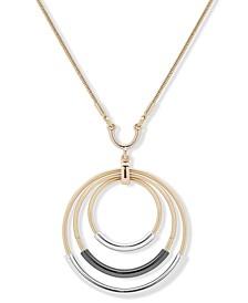 "Tri-Tone Orbital Pendant Necklace, 32"" + 3"" extender"