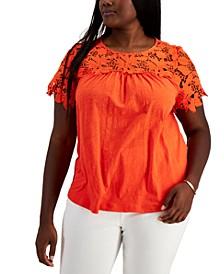 Plus Size Lace-Yoke Top