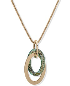 """Gold-Tone Abalone-Look Link Pendant 32"""" Long Necklace"""