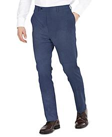 Men's Blue Tic Modern-Fit Performance Stretch Suit Separates Pants
