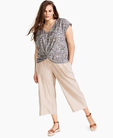 INC Plus Size Cotton Knot-Hem Top, Created for Macy's