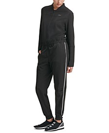 Side-Striped Zippered Jumpsuit
