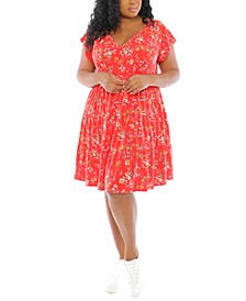 Plus Size Floral-Print V-Neck Tiered Baby-Doll Dress