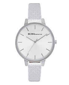 Women's 3 Hands Slim White Genuine Leather Band Watch 36mm