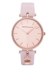 Women's 2 Hands Slim Pink Genuine Leather Band Watch 36mm