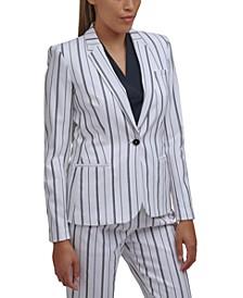 Striped One-Button Blazer