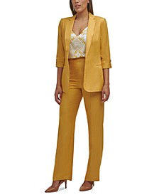 Roll-Tab-Sleeve Jacket, Floral-Print Camisole Top & Button-Detail Pants