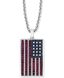 """EFFY® Men's Ruby (2-5/8 ct. t.w.), Sapphire (5/8 ct. t.w.) & Diamond (1/20 ct. t.w.) Flag 22"""" Pendant Necklace in Sterling Silver"""