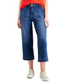 High-Rise Wide-Leg Cropped Jeans, Created for Macy's