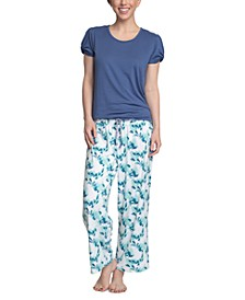 Solid Top & Printed Pants Pajama Set
