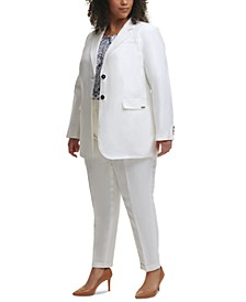 Trendy Plus Size Blazer, Pleated Top & Cuffed Pants