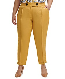 Trendy Plus Size Cuffed Front-Crease Pants
