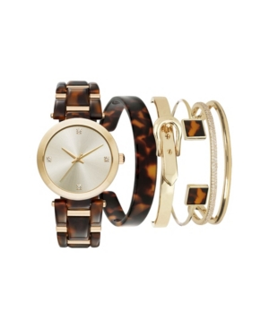 Jessica Carlyle Women's Tortoise Brown Resin Multiple Strap Watch 37mm