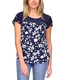 Floral-Print Tie-Sleeve Top