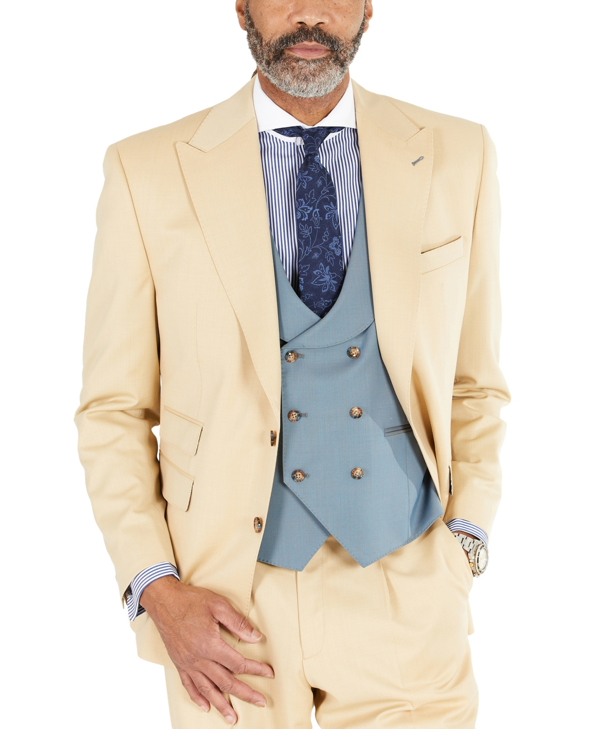 Men's Vintage Clothing | Retro Clothing for Men Tayion Collection Mens Classic-Fit Solid Tan Suit Separates Jacket $99.99 AT vintagedancer.com