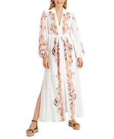 INC Puff-Sleeve Button-Front Maxi Dress, Created for Macy's