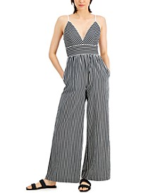 Striped Adjustable-Strap Jumpsuit, Created for Macy's