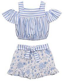 Little Girls Cold Shoulder Striped Top to Floral Linen Look Short