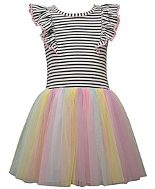 Toddler Girls Knit Pinafore Style Hipster Dress with Rainbow Mesh Ballerina Skirt