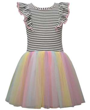 Bonnie Jean TODDLER GIRLS KNIT PINAFORE STYLE HIPSTER DRESS WITH RAINBOW MESH BALLERINA SKIRT