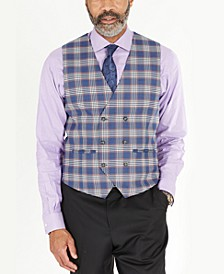 Men's Classic-Fit Blue & Pink Plaid Double-Breasted Vest