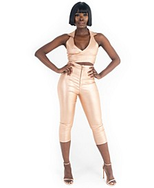 Grayscale Shimmer Capri Pants