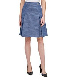 A-Line Button-Trim Skirt