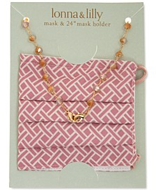 """Printed Face Mask & Gold-Tone Beaded 24"""" Chain Set"""