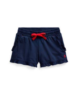 폴로 랄프로렌 여아용 반바지 Polo Ralph Lauren Toddler Girls Ruffled Jersey Shorts,Newport Navy