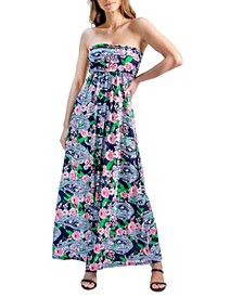 Women's Paisley Print Strapless Maxi Dress