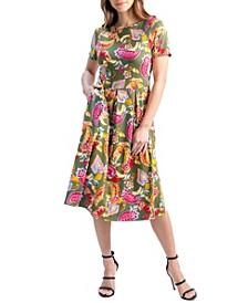 Women's Short Sleeve Paisley Pocket Midi Dress
