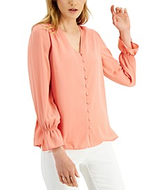 Petite V-Neck Button-Front Blouse, Created for Macy's
