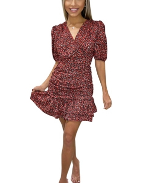 Ditsy Floral Ruched Frill Dress