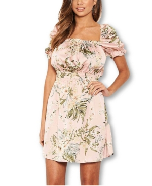 Tropical Print Puff Sleeve Dress