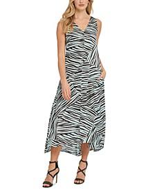 Animal-Print Sleeveless V-Neck Pocket Maxi Dress