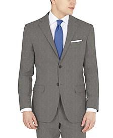 Men's Modern-Fit Performance Stretch Gray Sharkskin Suit Separates Jacket
