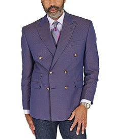 Men's Classic-Fit Blue & Tan Jacquard Double-Breasted Dinner Jacket