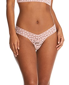 Women's Cross Dyed Leopard Low Rise Thong