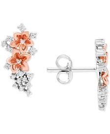 Diamond Flower Drop Earrings (1/6 ct. t.w.) in Sterling Silver and 10k Rose Gold