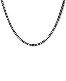 """Men's Franco Link 24"""" Chain Necklace in Black Ion-Plated Stainless Steel"""