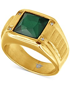 Men's Green Spinel & Cubic Zirconia Ring in Gold-Tone Ion-Plated Stainless Steel
