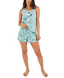 Snoopy Circle Tie-Dyed Pajama Shorts Set