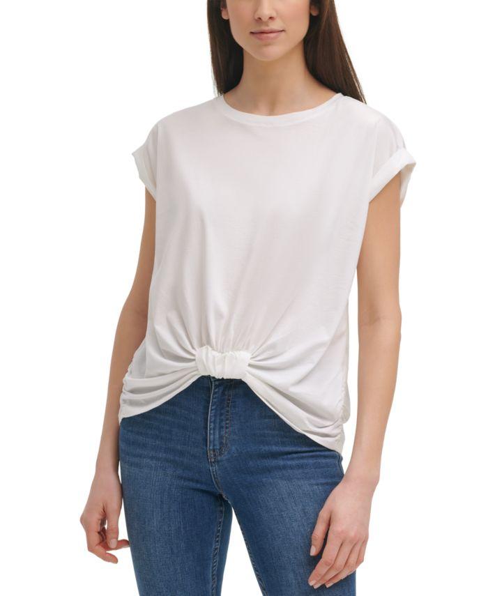 Calvin Klein Gathered-Front Cotton T-Shirt & Reviews - Tops - Women - Macy's