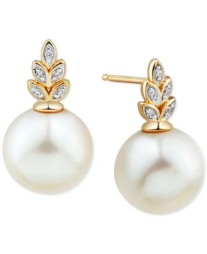 White Ming Pearl (11mm) & Diamond (1/20 ct. t.w.) Earrings in 14k Gold